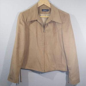 Tribal Faux Suede Full Zip Blazer Jacket